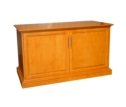 Flat panel cabinets are customized to screen size and décor of customer